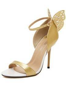 Gold High Heel Butterfly Sandals