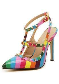 Multicolor Buckle Rivet Pumps