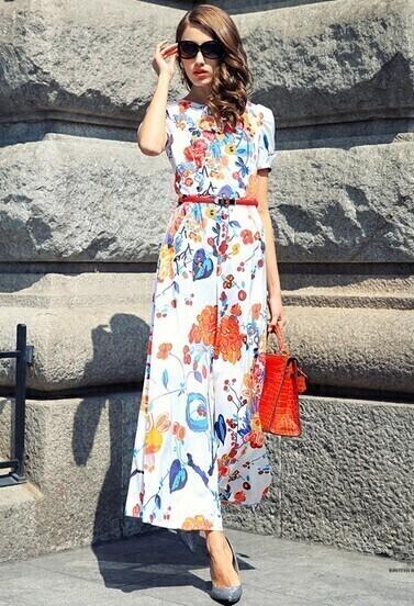 White Short Sleeve Floral Chiffon Jumpsuit