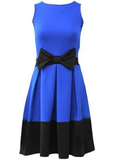 Blue Contrast Panel Bow Detail Flared Skater Dress