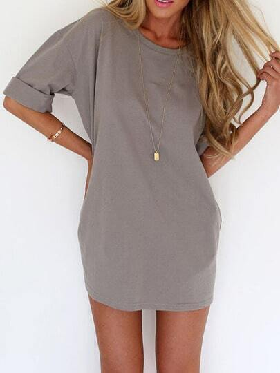 Grey Round Neck Half Sleeve Loose Dress pictures