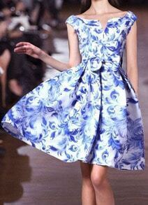 Blue Damask V Neck Floral Bow Flare Dress