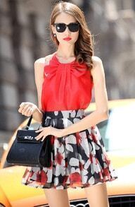 Red Bow Collar Sleeveless Top With Floral Flare Skirt