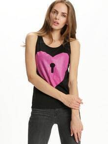 Black Scoop Neck Heart Print Tank Top
