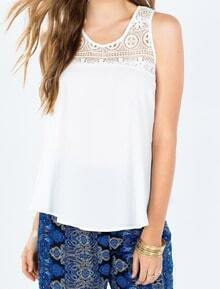 White Round Neck Lace Chiffon Tank Top