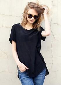 Black Short Sleeve Asymmetrical Loose Blouse