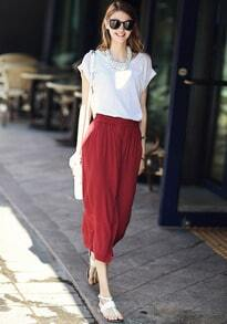 White Short Sleeve Loose Top With Wine Red Split Skirt
