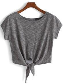 Grey Knotted Crop T-Shirt
