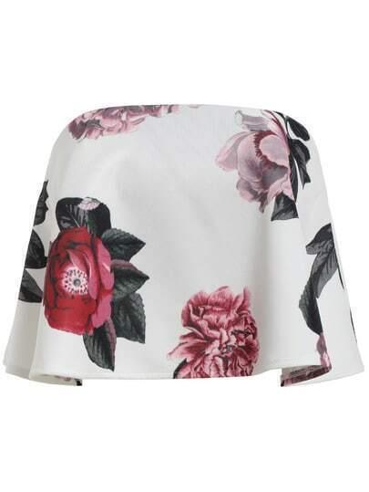 White Strapless Dip Hem Florals Tank Top