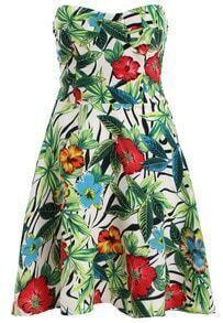 Green Strapless Florals Flare Dress