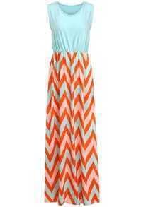 Orange Round Neck Sleeveless Zigzag Dress