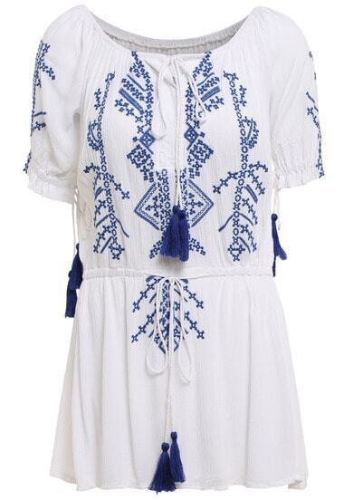White Boat Neck Embroidered Dress