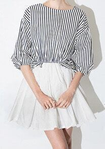 Multicolour Round Neck Vertical Striped Flare Dress