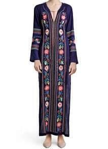 Navy V Neck Long Sleeve Embroidered Dress