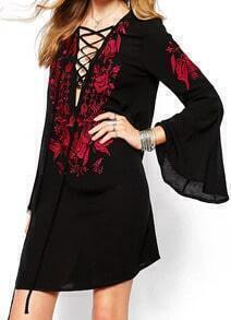 Black Bell Sleeve Embroidered Lace Up Dress