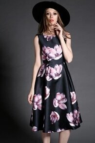 Black Sleeveless Flower Print Flare Dress