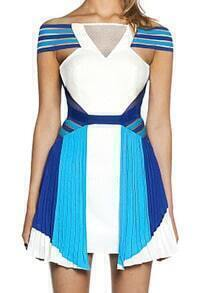 Blue Boat Neck Open Back Striped Dress