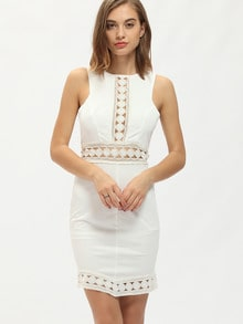 White Semiformal Sleeveless Hollow Dress