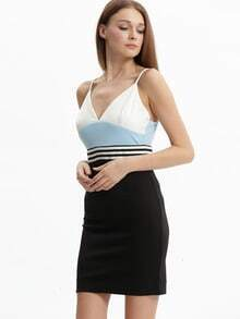 Black Blue Spaghetti Strap Backless Color Block Dress