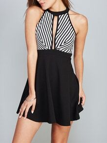 Black Sleeveless Cut Out Striped Dress