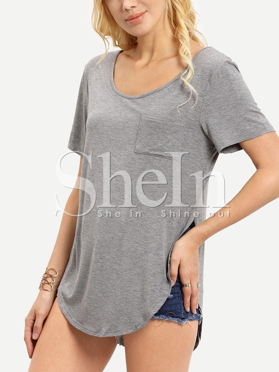 Grey Short Sleeve High Low T-Shirt
