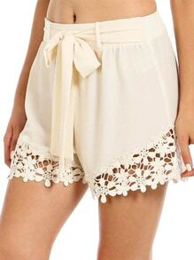 Apricot Tie-Waist With Crochet Lace Shorts