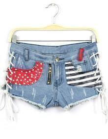 Blue Bandage Striped Stars Print Denim Shorts