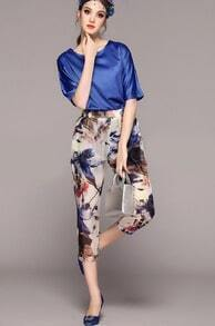 Blue Batwing Sleeve Loose Top With Floral Pant
