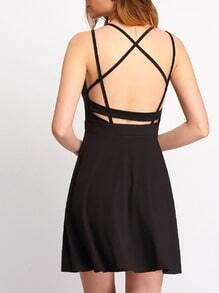 Black Criss Cross Backless Pleated Dress