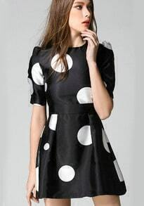 Black Round Neck Puff Sleeve Polka Dot Dress