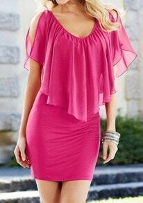 Rose Red V Neck Ruffle Bodycon Chiffon Dress
