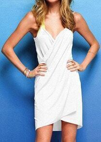 White Spaghetti Strap Backless Beach Dress