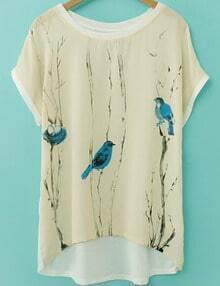 Apricot Short Sleeve Birds Print Dip Hem T-Shirt