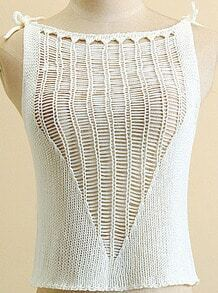 White Hollow Crop Knit Cami Top