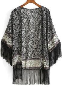 Black Vintage Floral Tassel Kimono