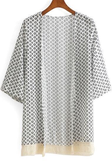 White Geometric Print Tassel Chiffon Kimono