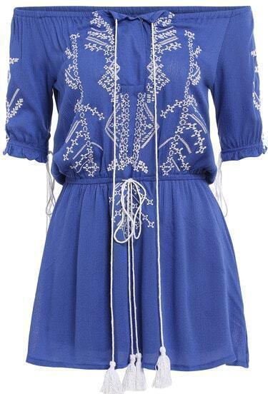Blue Off the Shoulder Embroidered Drawstring Dress