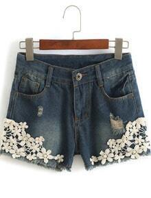 Blue Floral Crochet Ripped Denim Shorts