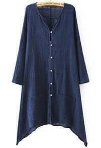 Navy V Neck Long Sleeve Buttons Pockets Blouse