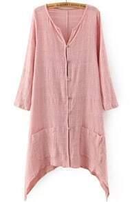 Pink V Neck Long Sleeve Buttons Pockets Blouse