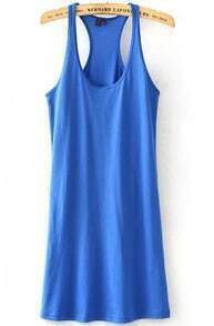 Blue Strap Slim Tank Vest Dress