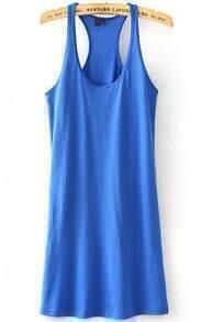 Blue Strap Slim Tank Vest Dress
