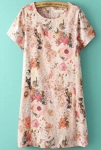 Pink Short Sleeve Floral Straight Dress