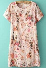 Pink Short Sleeve Floral Straight Dress