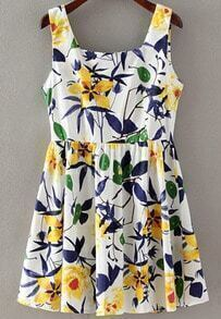 White Strap Leaves Print Pleated Dress
