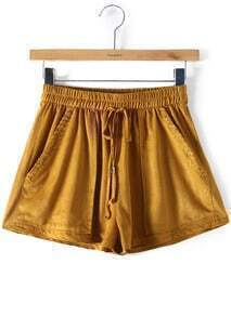 Yellow Drawstring Elastic Waist Shorts