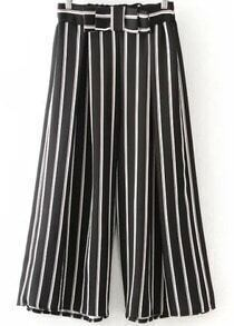 Black Bow Vertical Stripe Wide Leg Pant