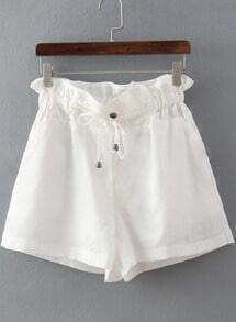 White Drawstring Waist Straight Shorts