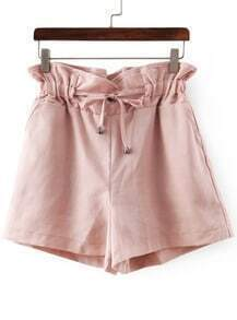 Pink Drawstring Waist Straight Shorts