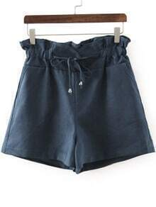 Navy Drawstring Waist Straight Shorts